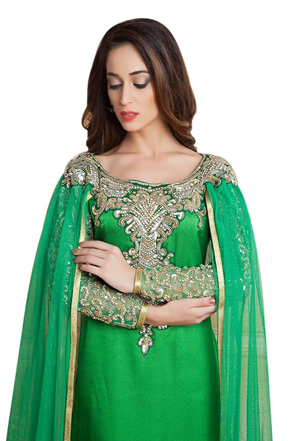 Kolkozy Fashion Women's Designer Handmade Arabic Long Sleeve Wedding Caftan