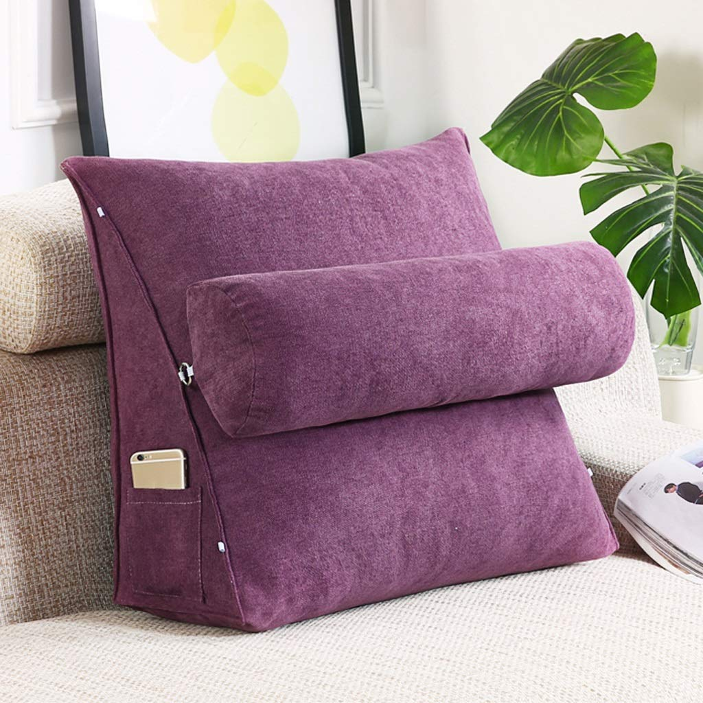 Lil with Headrest Sofa Waist Belt Triangle Cushion, Bed Head Large Office Backrest, Protection Neck Pillow,Removable Washable (Color : Purple, Size : 605020cm)