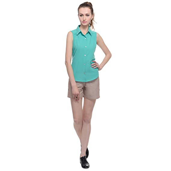 ce519f75007e0d A Luv Ya Women s Poly Crepe Sleeveless Camp Shirt  Amazon.in ...