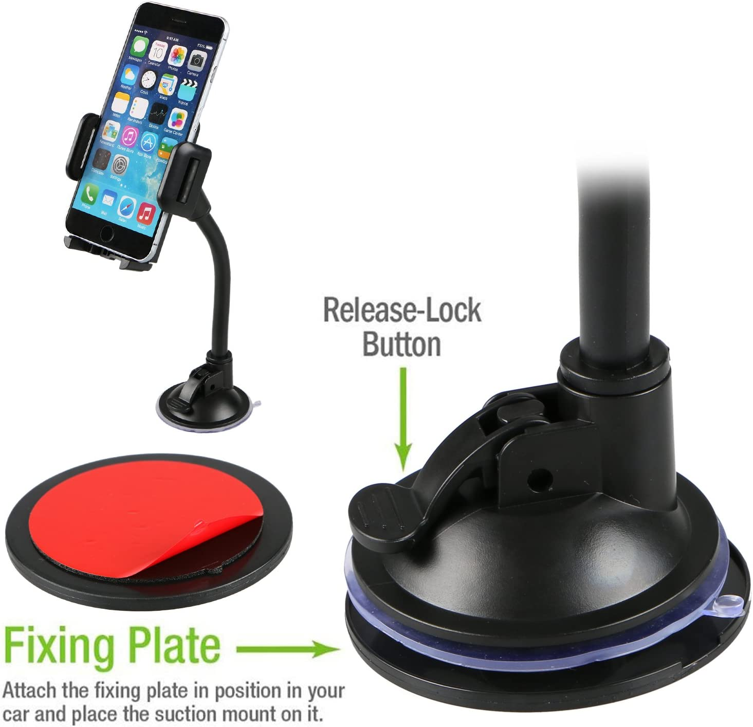 Linkstyle Car Mount Phone Holder with Long Arm Universal Windshield Dashboard Mount with Clip /& Suction Cup Cell Phone Holder for iPhone X 8 8 Plus 7 7 Plus 6 Plus Galaxy S5 S6 S7 S8 Google LG Huawei