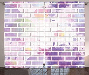 Ambesonne Wall Curtains, Vector Illustration of Graffiti Brick Wall Pattern Design Street Artwork, Living Room Bedroom Window Drapes 2 Panel Set, 108