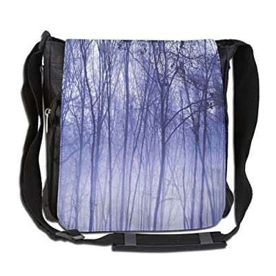 Lovebbag Foggy Misty Trees In A Winter Woodland Landscape Scenery Modern Crossbody Messenger Bag