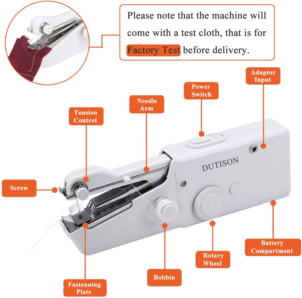 Home Handy Stitch for Clothes Quick Repairing with 15 Accessories Mini Cordless Portable Electric Sewing Machine DUTISON Handheld Sewing Machine