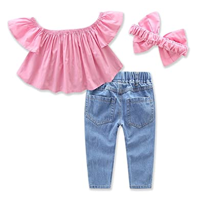 3pcs/set Toddler Girls Off Shoulder Ruffle Shirt + Hole Jeans+Headband  Outfits: Amazon.co.uk: Clothing