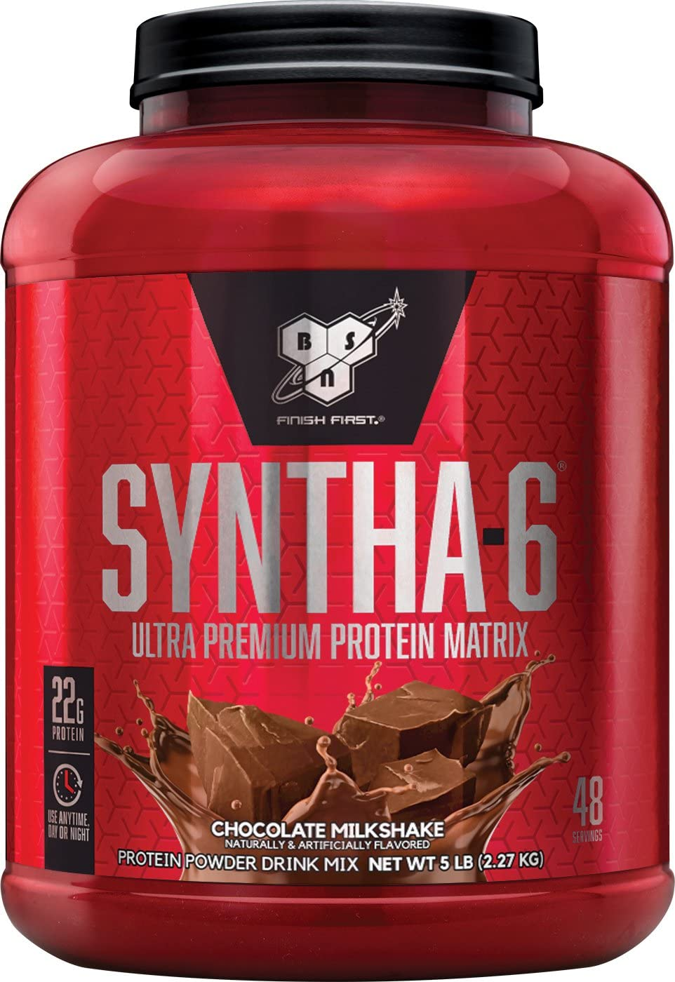 BSN SYNTHA-6 Whey Protein Powder, Micellar Casein, Milk Protein Isolate, Chocolate Milkshake, 48 Servings Packaging May Vary