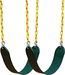 Squirrel Products 2 Pack Heavy Duty Swing Seat - Swing Set Accessories Swing Seat Replacement with Plastic Coated Chain for Easy Install - Green