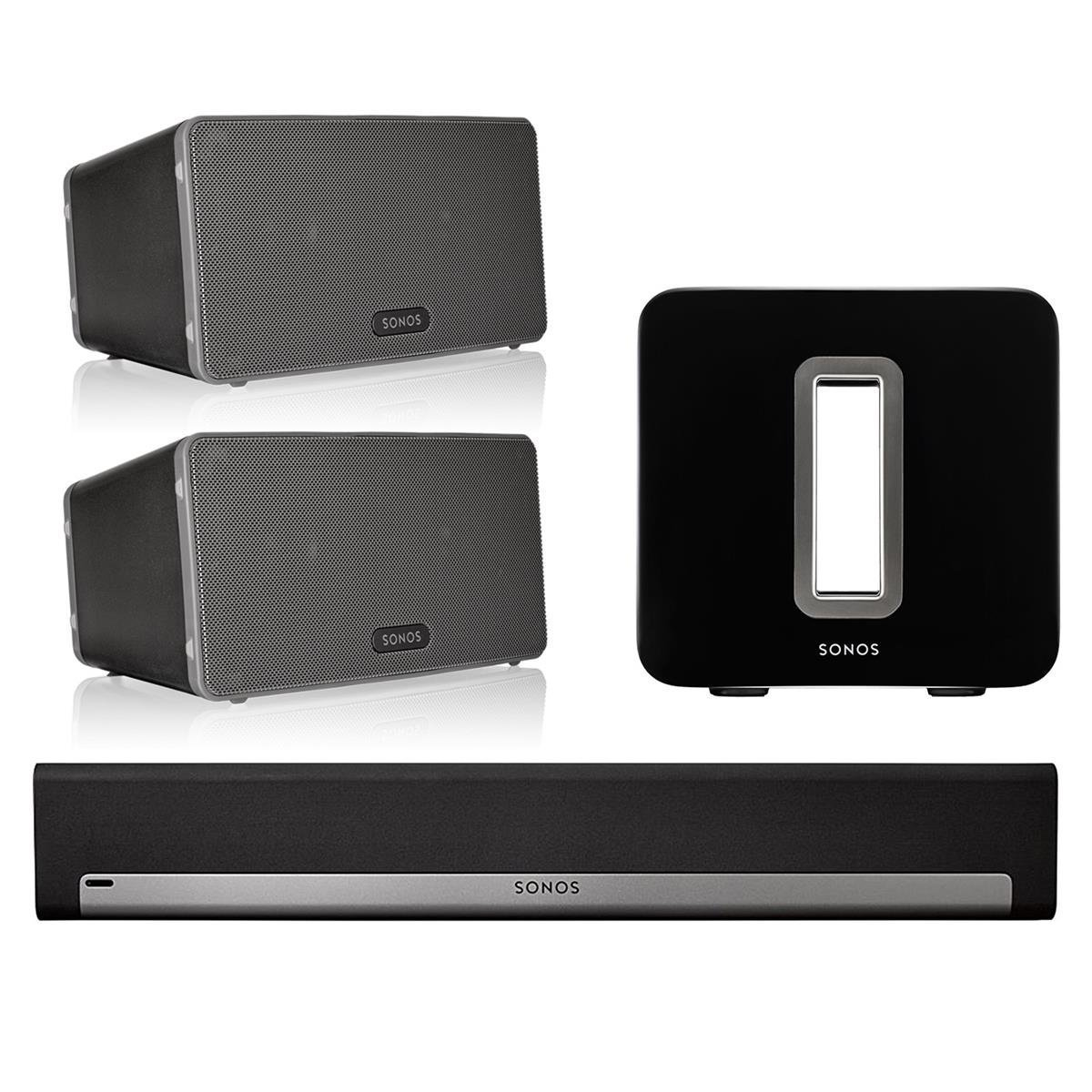 Sonos 5.1 Home Theater System with PLAY:3 (Pair), PLAYBAR, and SUB (Black) by Sonos