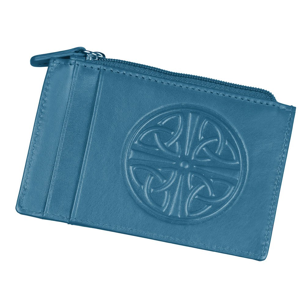 Women's Celtic Knot ID Wallet - Leather - RFID Blocking - 4.5'' x 3'' - Blue