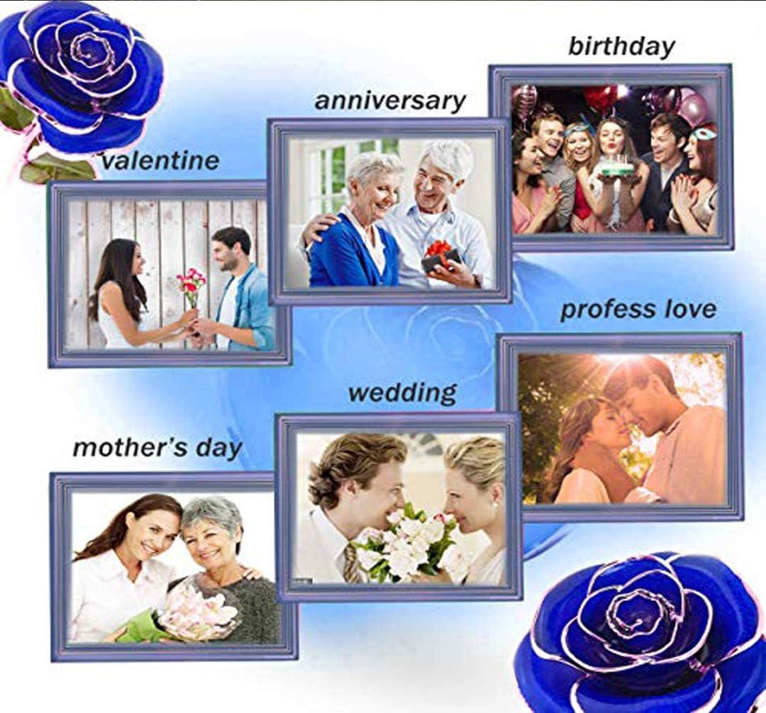 Azul FUNINGEEK Rosa 24K,Rosa Eterna Flores Chapadas en Oro con Caja de Regalo para el D/ía de San Valent/ín D/ía de la Madre,Navidad,Aniversario,Esposa,Mom