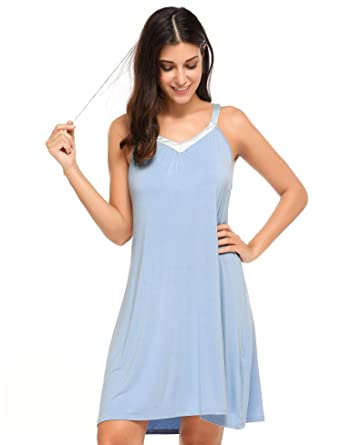 Pesters Comfort Pajamas Ladies Sexy Pjs Sheer SIK Nightgown Sleepwear  Dress(Blue b010ce8c3