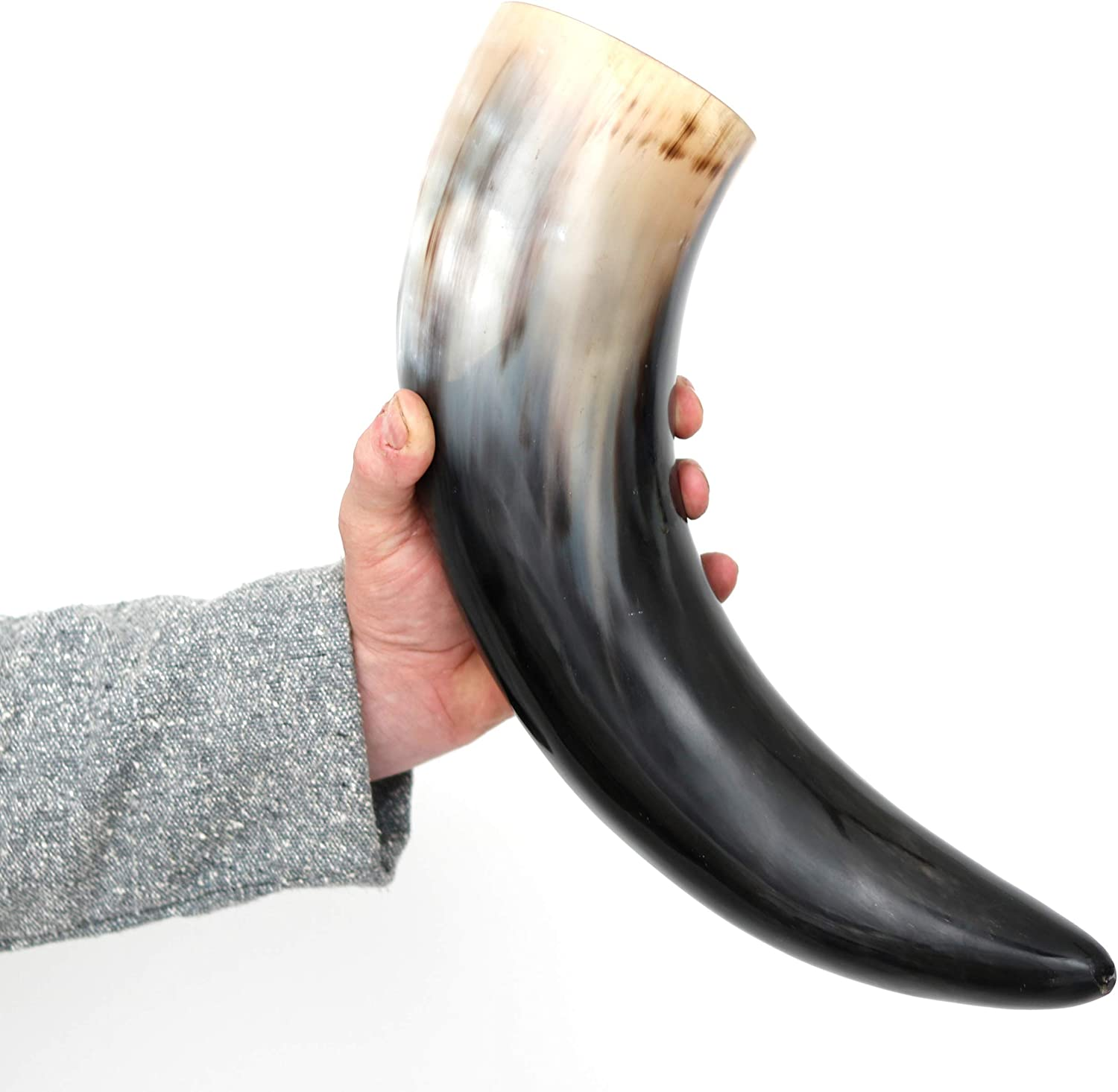 Mythrojan THE WITCHER COMPANION Viking Drinking Horn with Brown Leather holder Authentic Medieval Inspired Viking Wine//Mead Mug Polished Finish