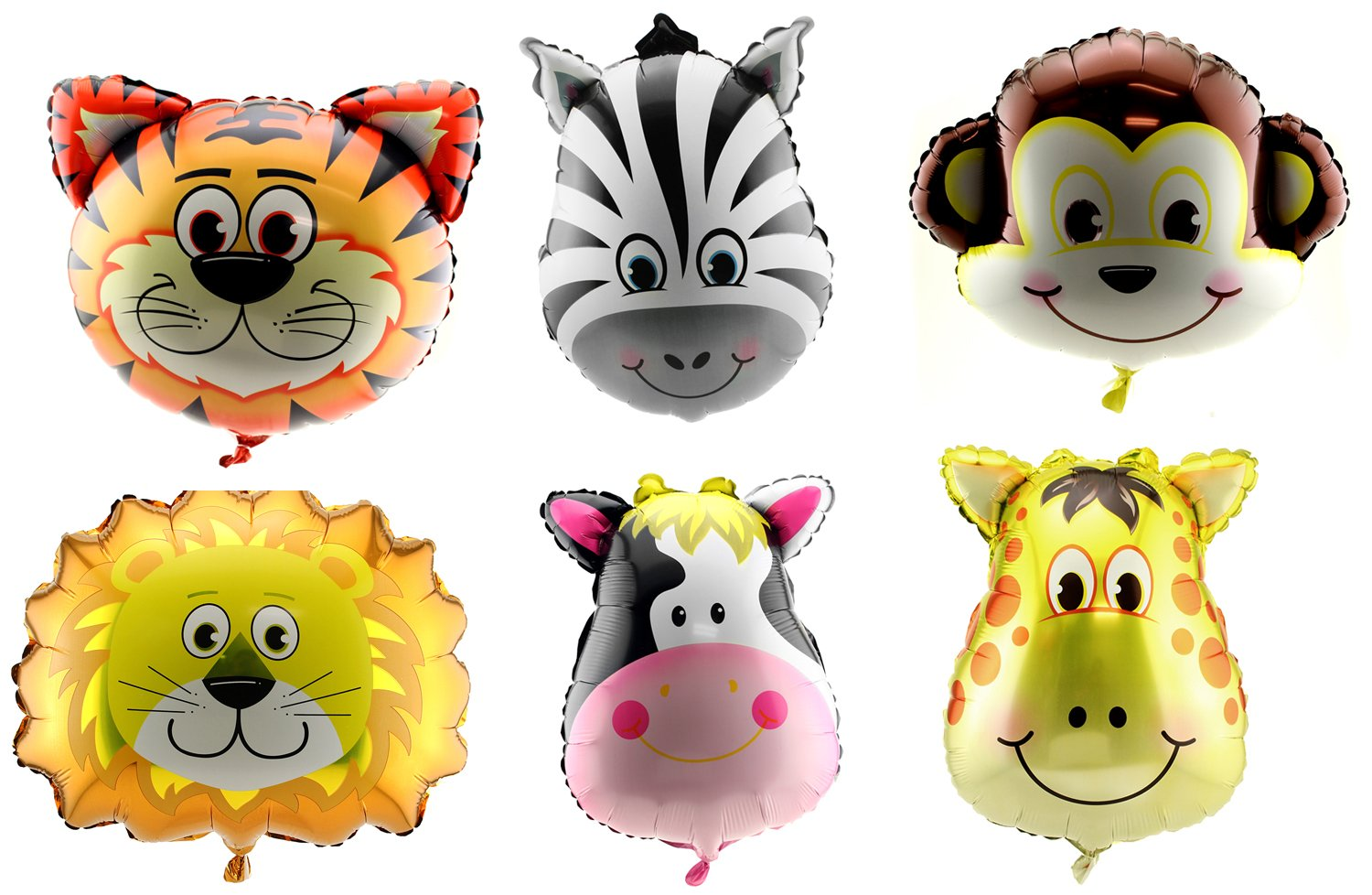 Adorox Set of 6 Animal Giant Balloons Jungle Safari Zoo Theme Party Decorations