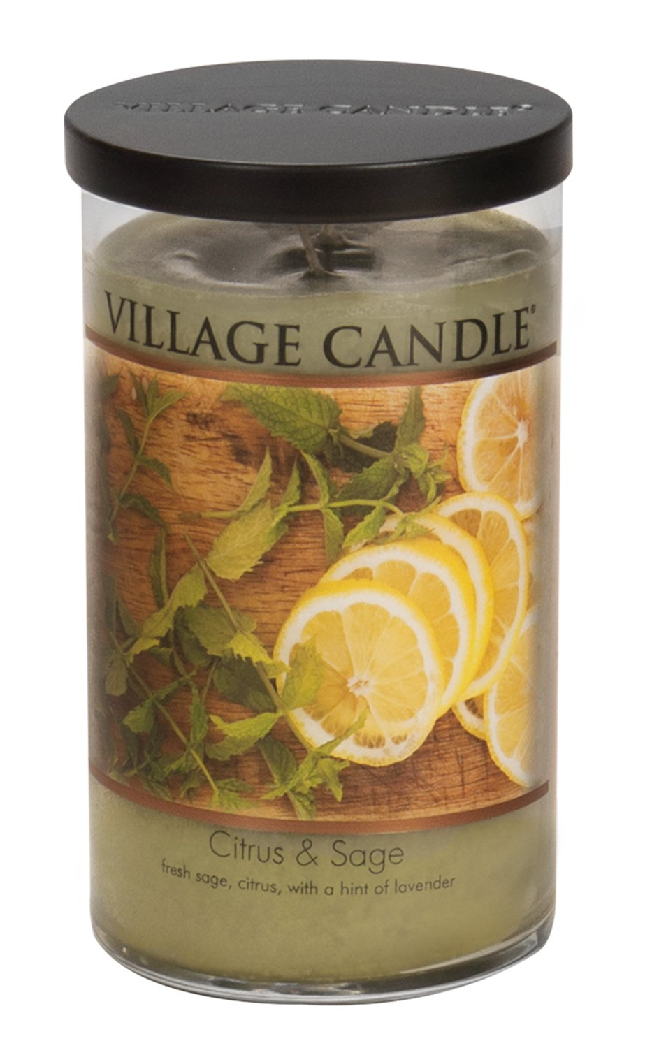 Village Candle Citrus & Sage 24 oz Glass Tumbler Scented Candle, Large by Village Candle