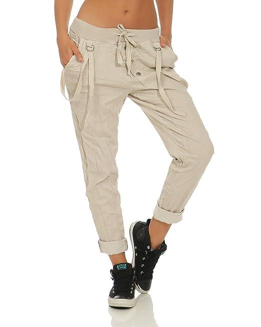 a5c1fc74b2 ZARMEXX Pantalones para Mujer Pantalones Casuales de Algodón Bonded Oblicuo  Button Front Boyfriends al Aire Libre Beige