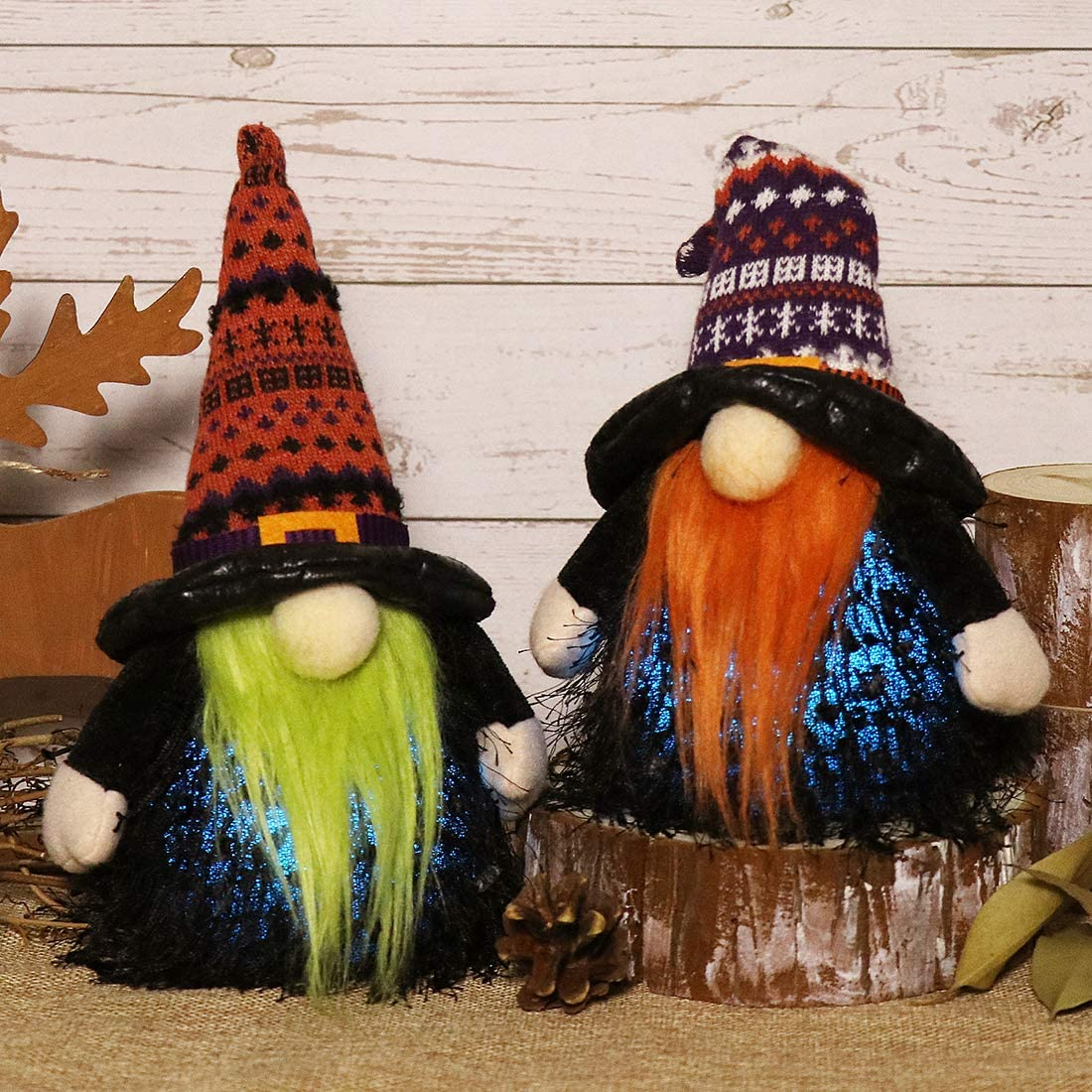 EDLDECCO Gnomes Set Light with Timer Holidays Fall Thanksgiving Halloween Decor 9 Inches Set of 2 Nisse Swedish Nordic Tomte with Wizard Witch Hat Home Party Decorations(Orange & Purple)