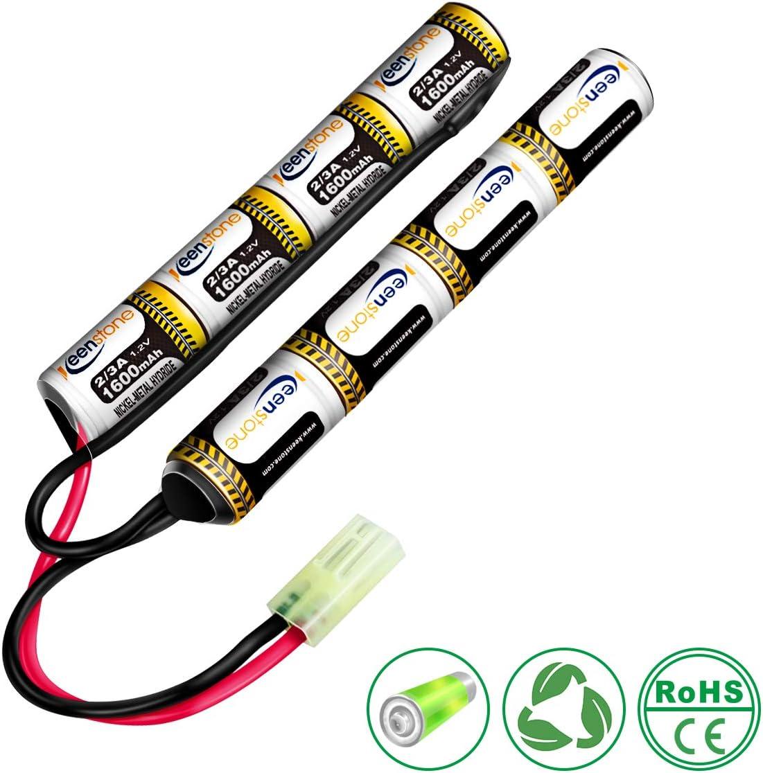 Keenstone Baterías Airsoft Stick NiMH 9.6V 1600mAh Nunchuk Stick para Rifle de Aire ICS CA TM SRC JG G36 G y M734, etc. + Mini Conector Tamiya High Discharge