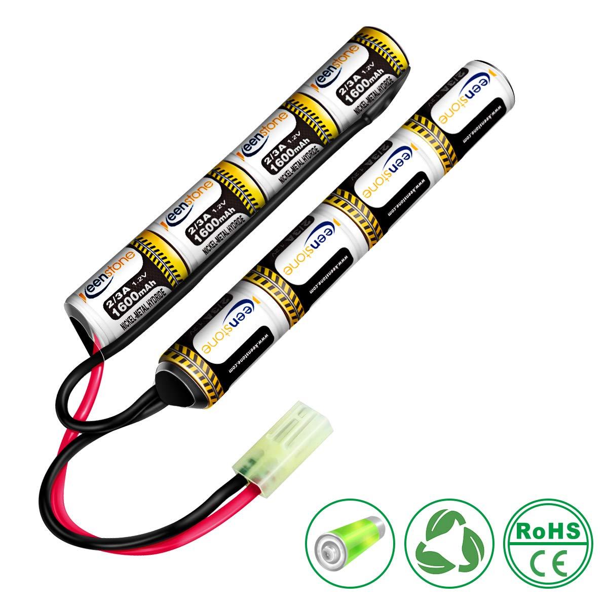 Keenstone Cargador Airsoft, con conector Mini Tamiya y adaptador estándar de Tamiya para 1-8s NiMH, baterías Airsoft 1.2V 2.4V 3.6V 4.8V 6V 7.2V 8.4V 9.6V (batería)