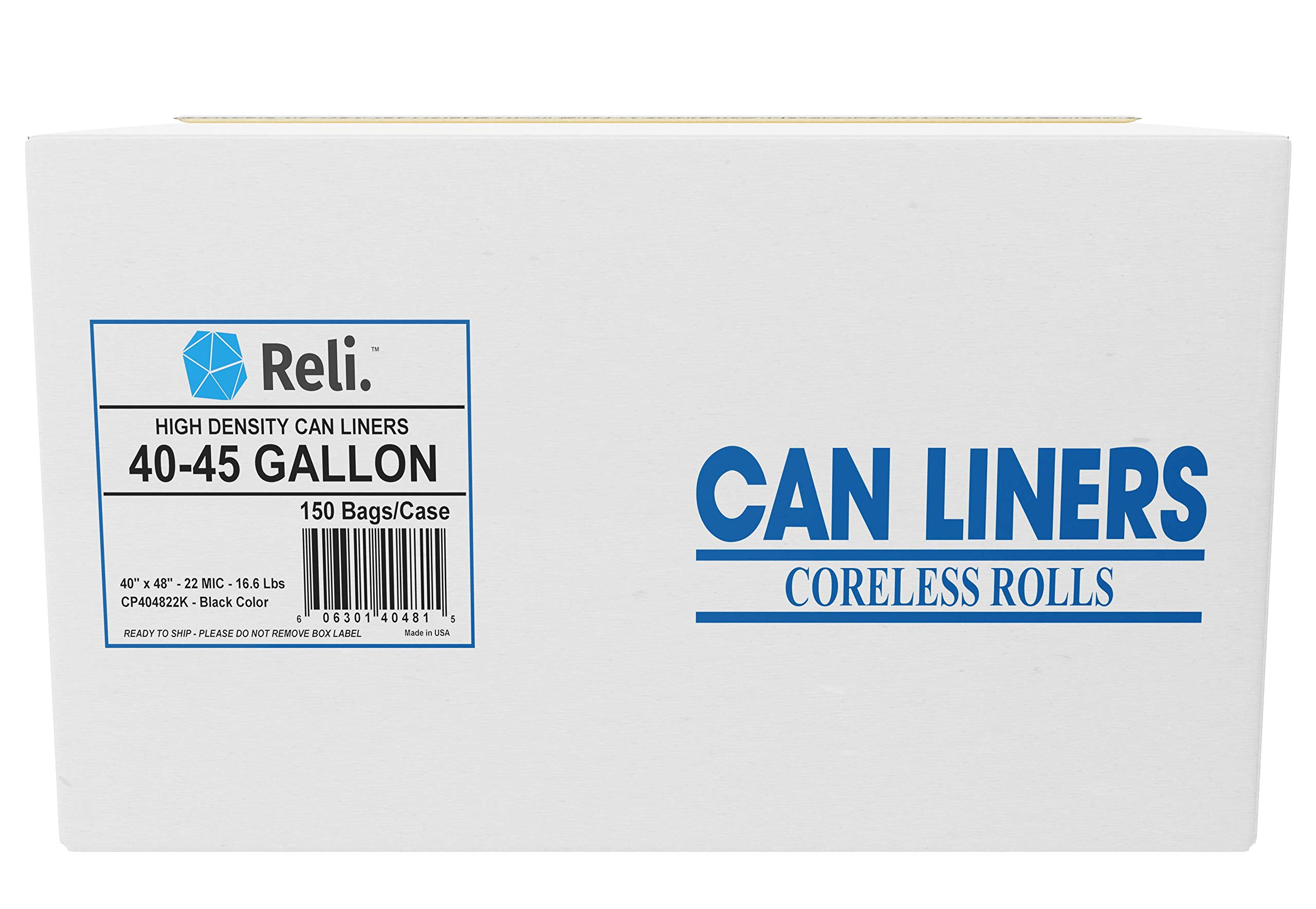 Reli. Premium 40-45 Gallon Trash Bags Heavy Duty, Black (150 Count) Black Garbage Bags 40 Gallon - 45 Gallon, Contractor Bag Strength - Can Liners/Lawn and Leaf Bags 39 Gallon - 45 Gallon by Reli.