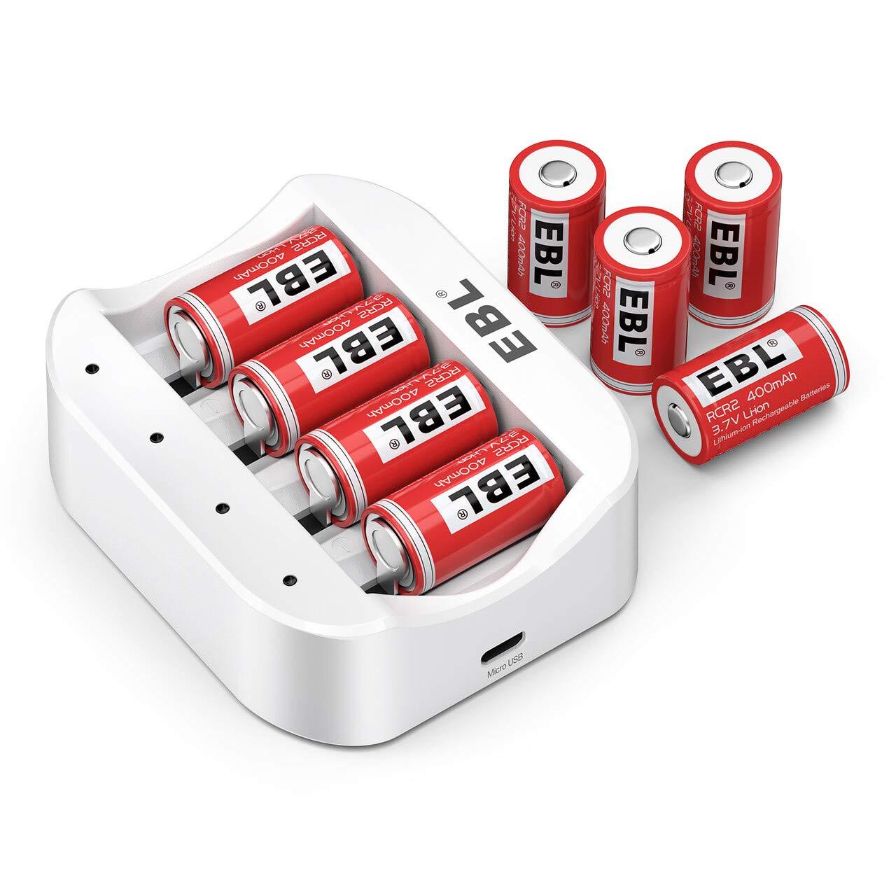 EBL CR2 Rechargeable Batteries, 3.7V Lithium Photo Batteries 8 Pack with Rechargeable Battery Charger by EBL