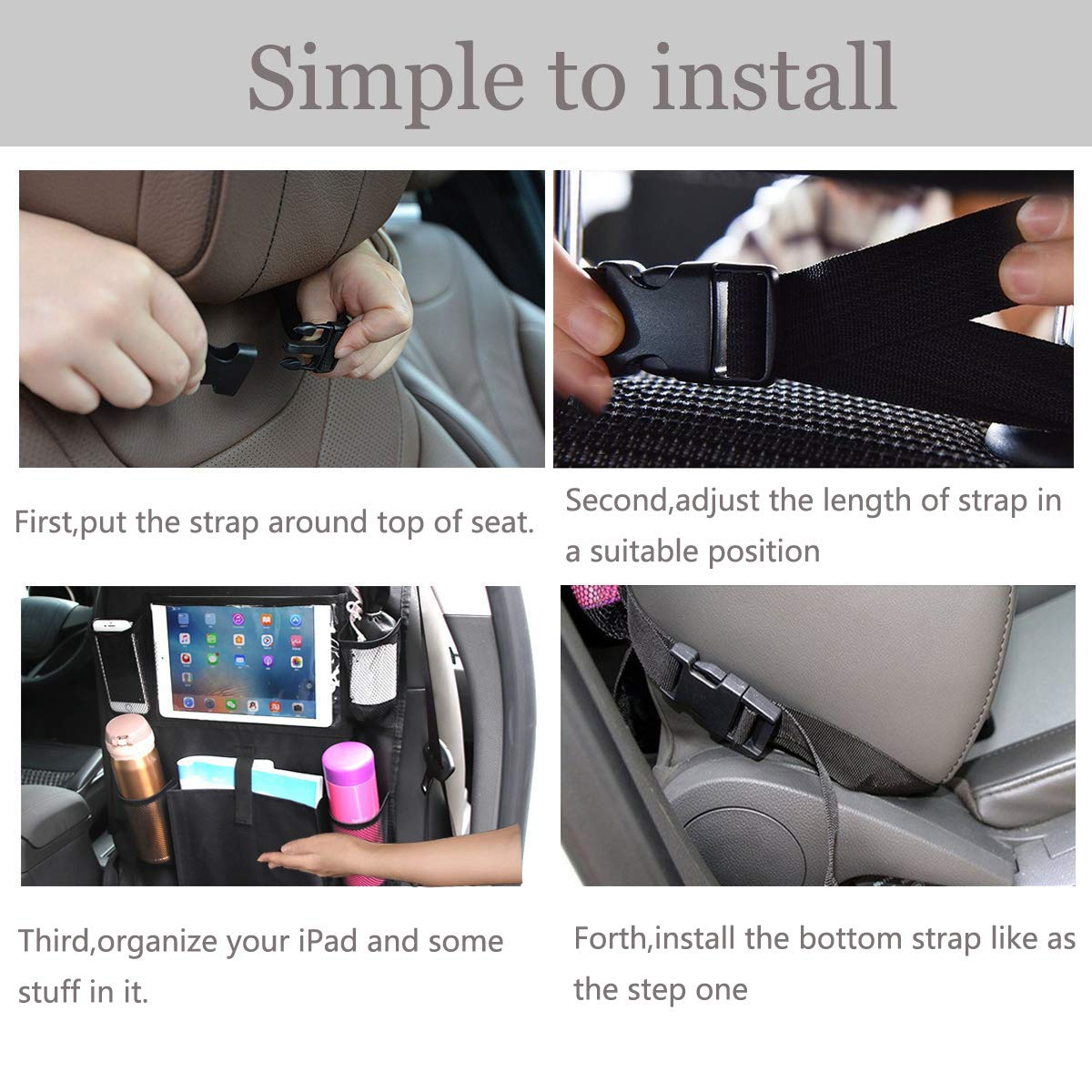 Car Backseat Organizers Car Seat Protector for Kids Storage Pockets for iPad and Tablet Holder Back Seat Kick Mat to Protect Your Carseats from Shoe Marks and Damage 2 Pack