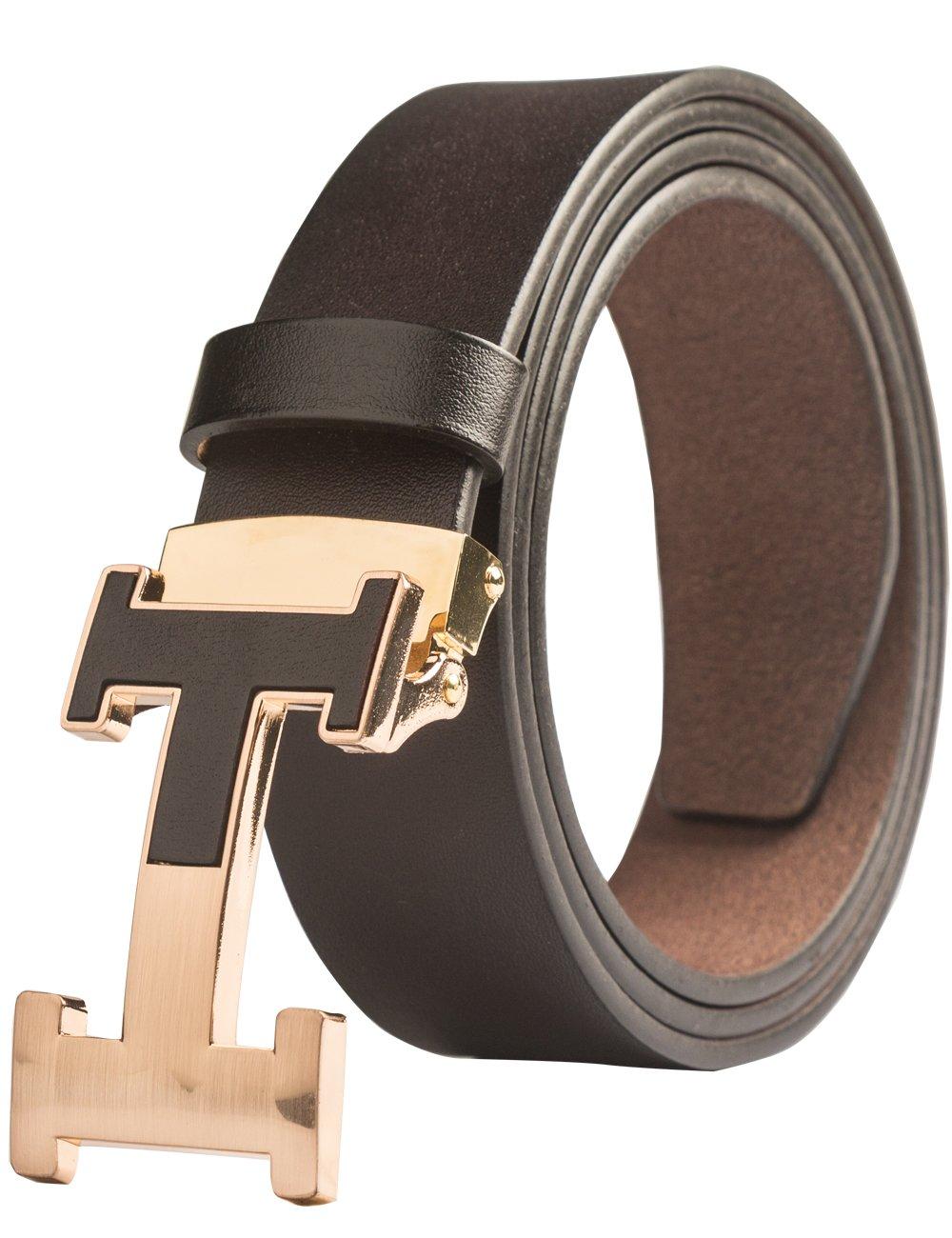 Menschwear Men's Geniune Leather Belt Slide Metal Buckle Adjustable Waistband Coffee 105cm