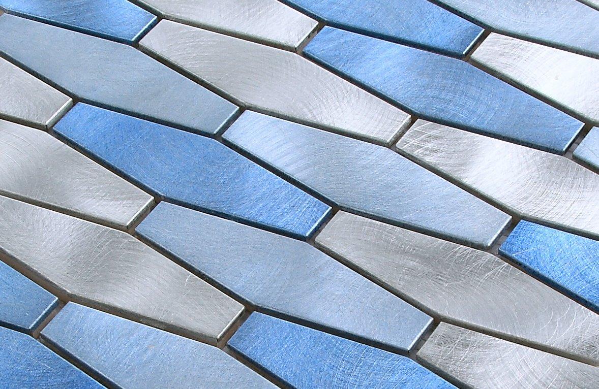 Vogue Tile Brushed Stainless Steel Interlocking Long Hexagon Silver ...