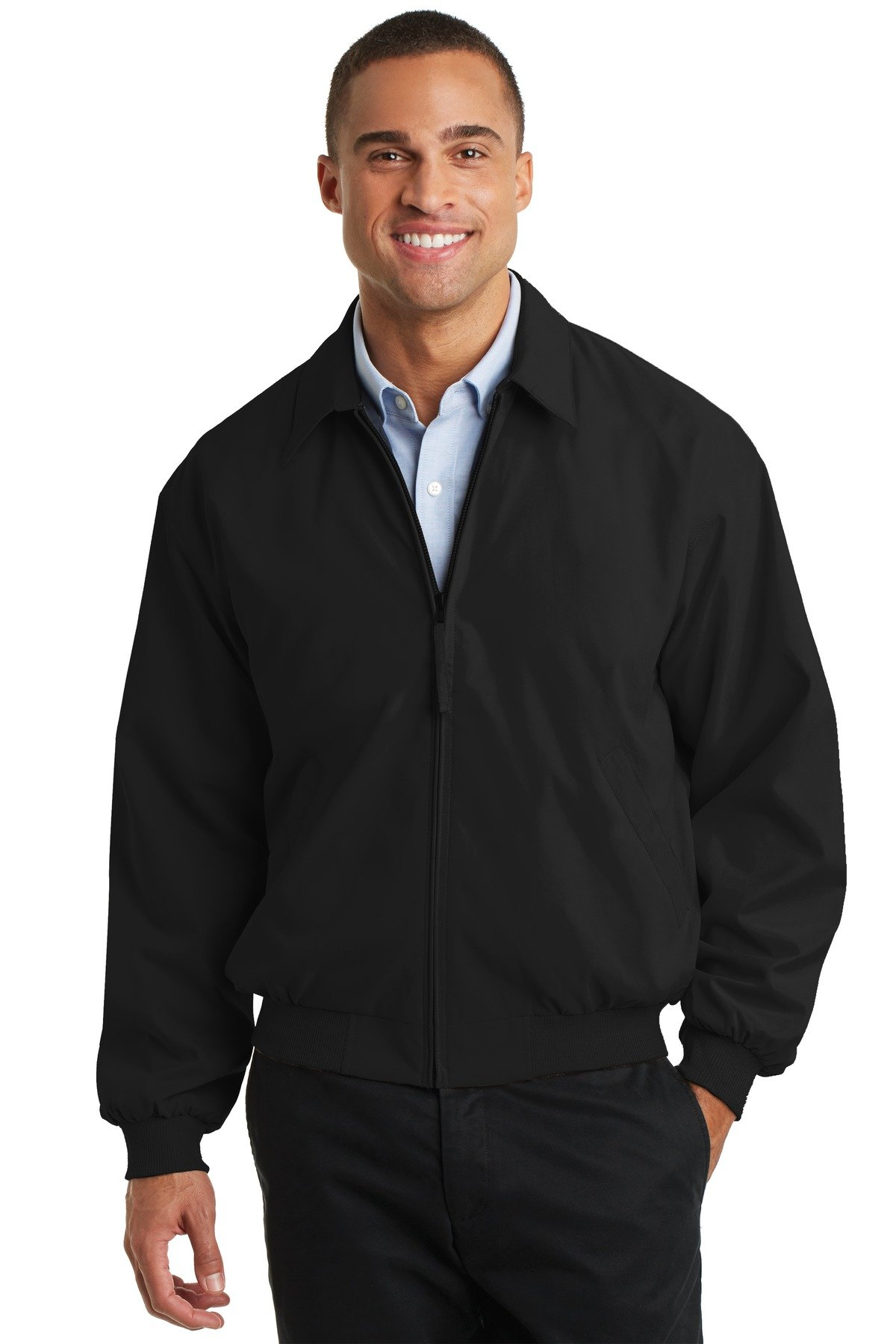Port Authority Men's Casual Microfiber Jacket M Black/Solid Pewter Lining