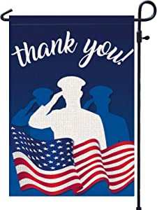 "PAMBO Thank You Veterans Garden Flag | Thanks to American Soliders Vertical Double Sided Outdoor & Yard Flag, 11th November Veterans Day Decoration 12.5"" x 18"""