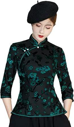 Shanghai Story Cheongsam Shirt 3/4 Sleeve Chinese Traditional Top Qipao Blouse with Skirt