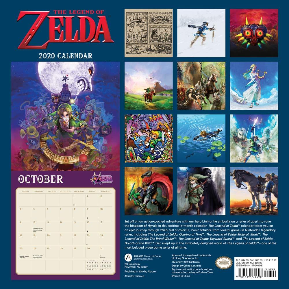 Games Coming Out In October 2020.Legend Of Zelda 2020 Wall Calendar Nintendo 9781419736698