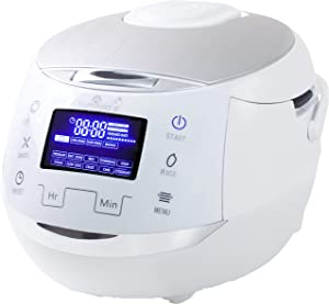 Yum Asia Sakura Rice Cooker with Ceramic Bowl and Advanced Fuzzy Logic (8 Cup, 1.5 Litre) 6 Rice Cook Functions, 6 Multicook Functions, Motouch LED Display, 120V Power (White and Siver)