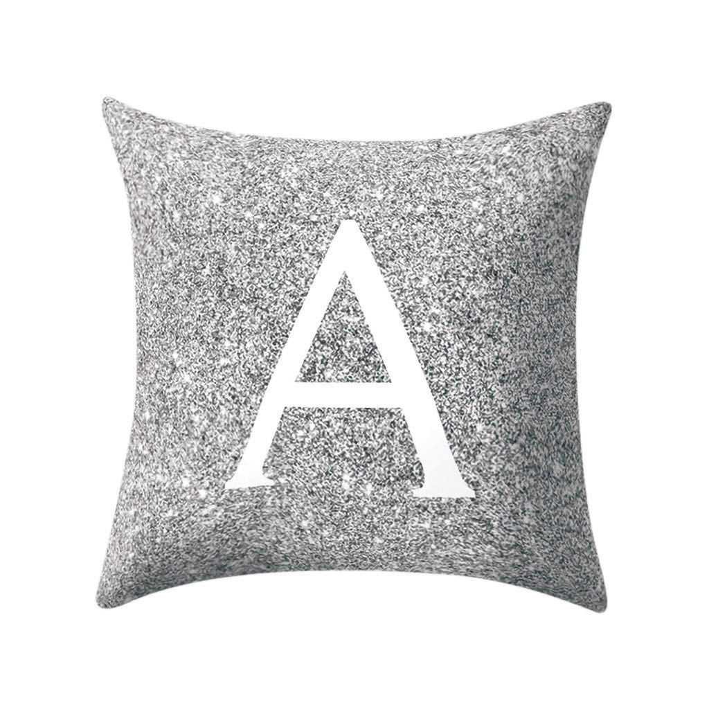 Letter Pillow Case Covers Metallic Throw Pillow Case 18x18'' A-Z Letter Alphabets Cushion Cover for Home Sofa Couch Decor (A)