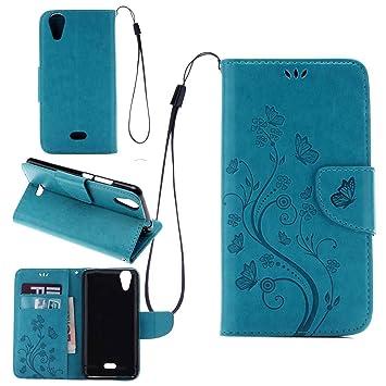 pinlu Funda para Wiko Rainbow Jam 4G Función de Plegado Flip Wallet Case Cover Carcasa Piel PU Billetera Soporte con Ranuras Mariposa Flores Azul