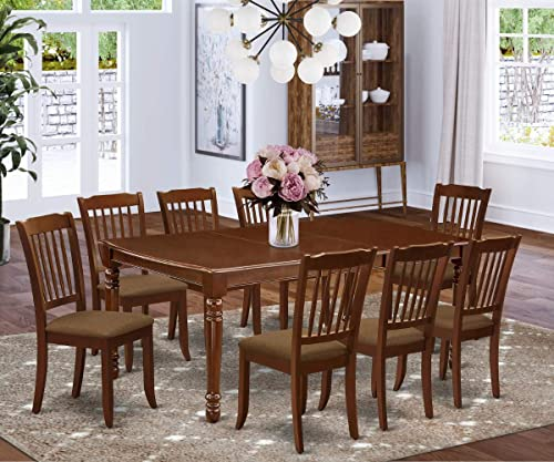 East West Furniture DODA9-MAH-C 9-Pc dining set Mahogany finish-A Butterfly Leaf and 4 Legs small table 8 Slatted Back dining room chairs