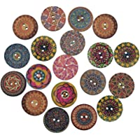 Godagoda Mixed Random Shinning Round 2 Holes Wooden Buttons for Sewing Crafting Pack of 100