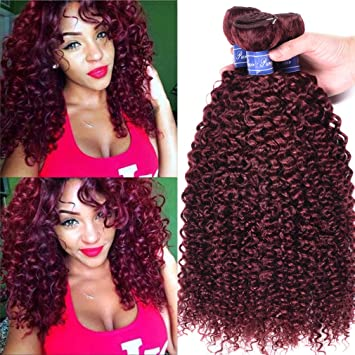 Pure Red Wine Color Malaysian Curly Hair Weave 3 Bundles 99j Kinky Curly Hair Weft Real Human Hair