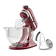 KitchenAid KSM105GBCER 5-Qt. Tilt-Head Stand Mixer with Glass Bowl and Flex Edge Beater - Empire Red