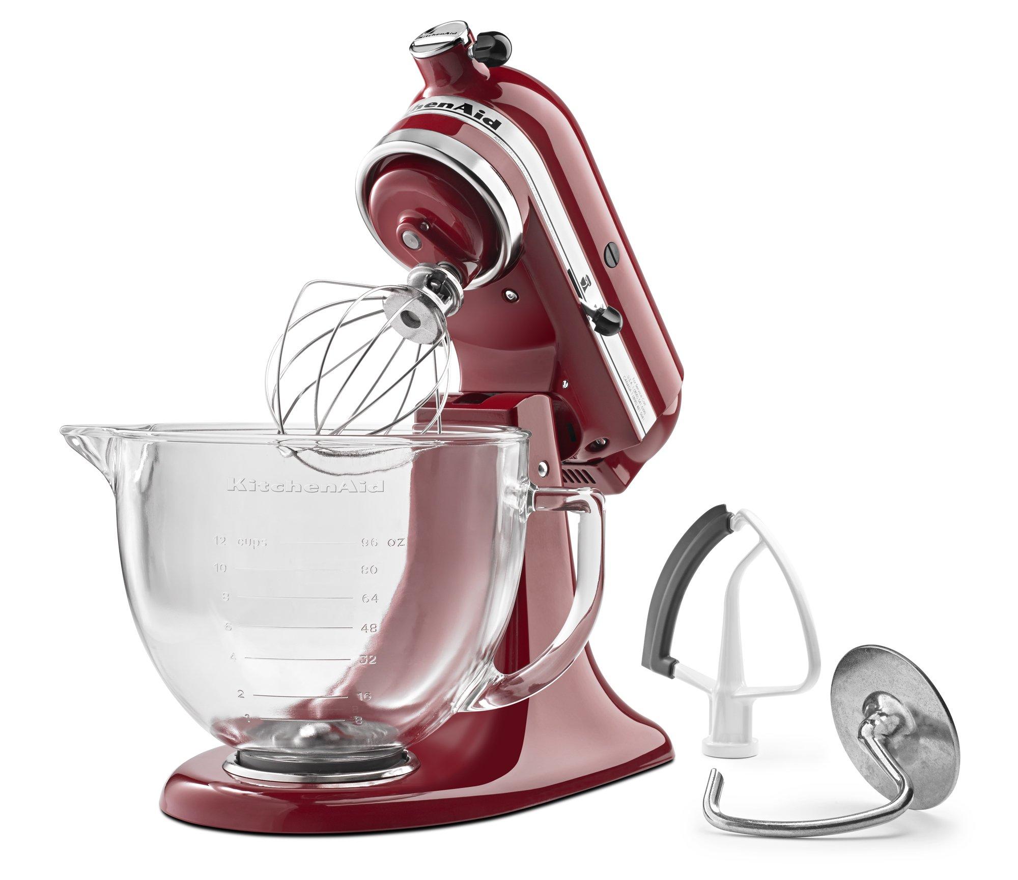 KitchenAid KSM105GBCER 5-Qt. Tilt-Head Stand Mixer with Glass Bowl and Flex Edge Beater - Empire Red