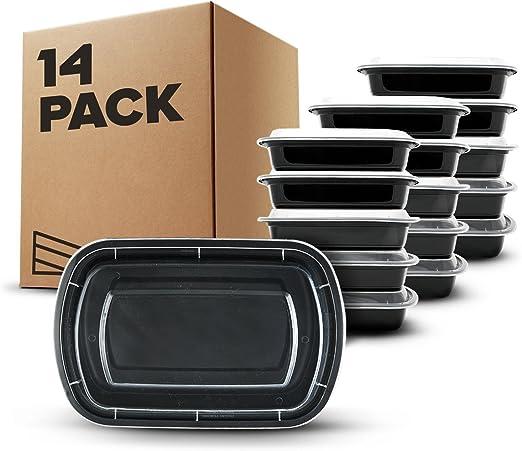 14 piezas] Contenedores de Alimentos con 1 Compartimiento sin BPA ...