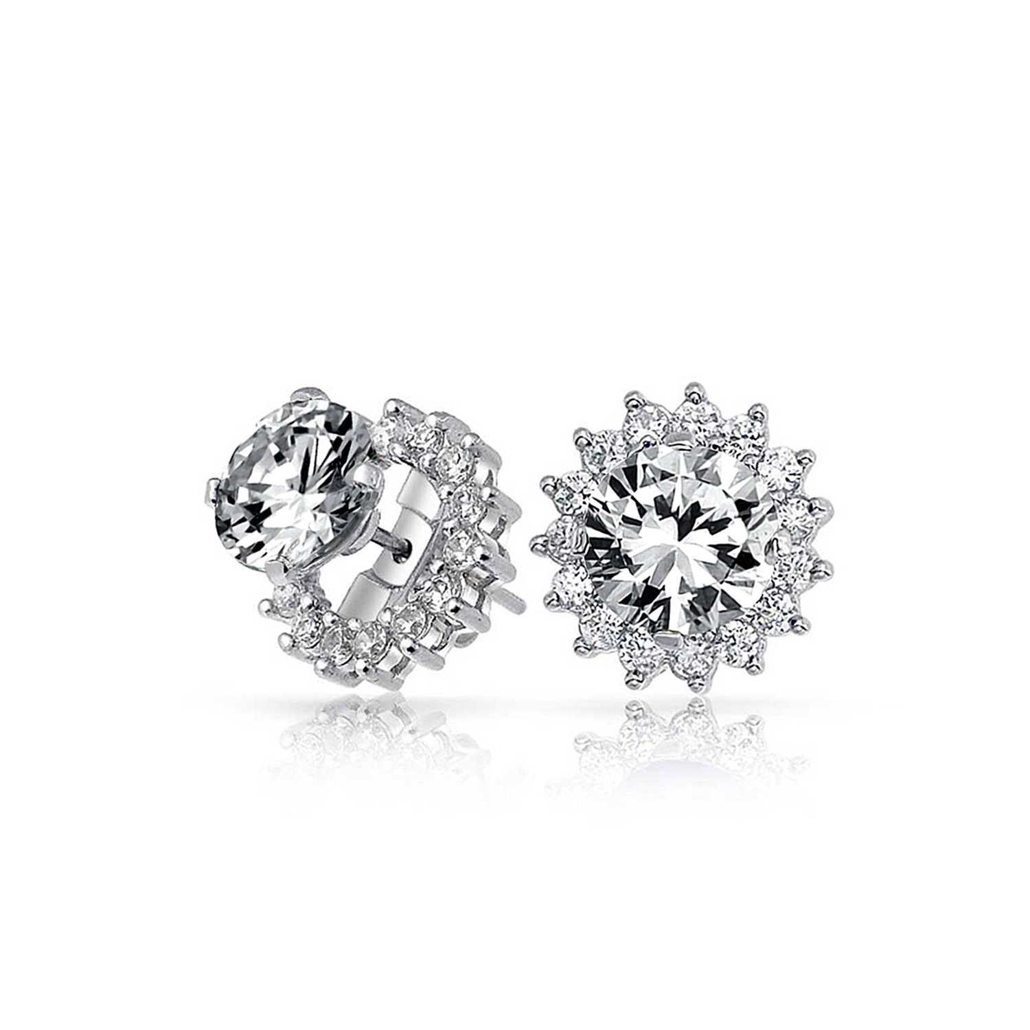 Brilliant Cut 1 CT CZ Solitaire Removable Cubic Zirconia Halo Jacket CZ Stud Earrings For Women 925 Sterling Silver