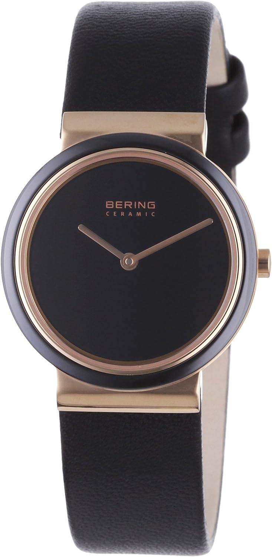 Bering Ceramic - Reloj analógico de mujer de cuarzo con correa de piel negra - sumergible a 50 metros