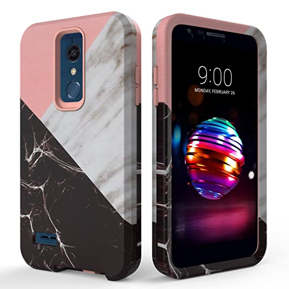 best service 77205 a6bd2 LG K30 Case,LG K10 2018 Case,SLMY(TM) Fashion Marble Armor Shockproof Heavy  Duty Shock Resistant Hybrid Soft Silicone Hard PC Cover Case for LG K30/LG  ...