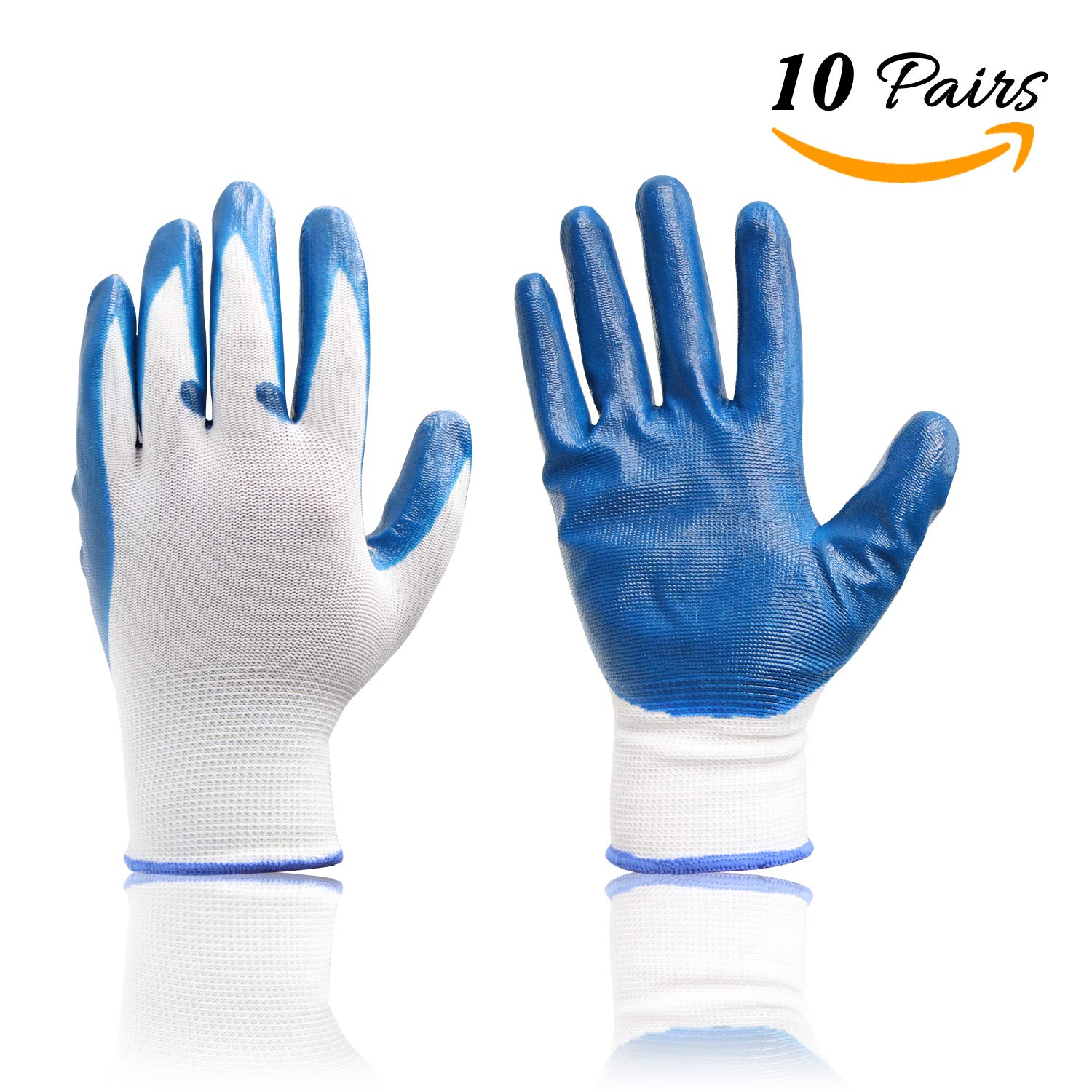Multifunctional Palm Coated Work Gloves for Gardening Landscaping Clamming, Reusable and Washable, 10 Pairs for Women and Men by FATHER.SON