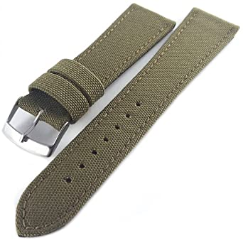0d33a668978 Cordura Fabric Watch Strap With Leather Lining Olive Green 18mm   Amazon.co.uk  Watches