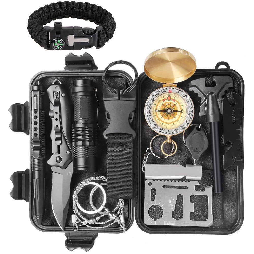 Sunba Youth Survival Kit 13 in 1, Outdoor Survival Gear Tool with Compass, Survival Bracelet, Flashlight, Tactical Pen, Wire Saw for Wilderness, Trip, Cars, Camping, Hiking