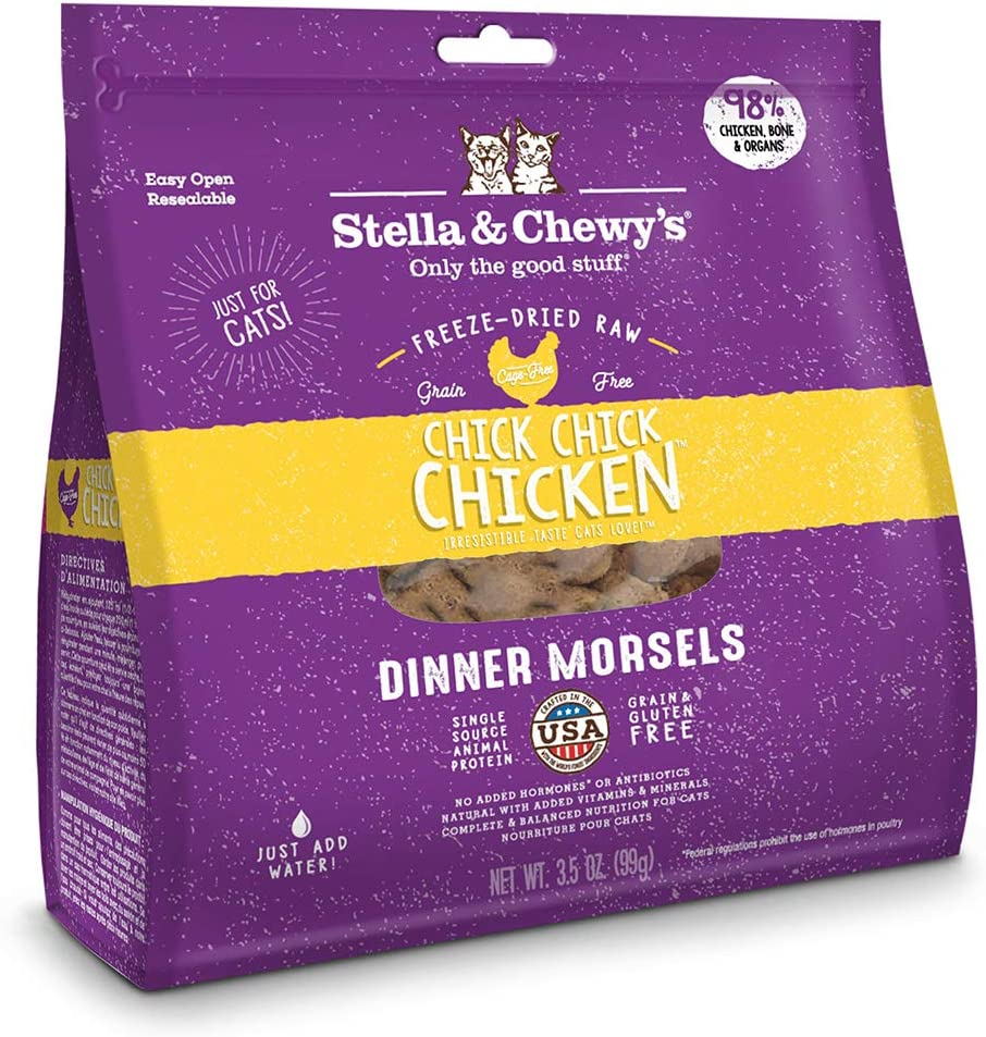 Stella & Chewy's Freeze-Dried Raw Chick, Chick, Chicken Dinner Morsels Cat Food, 3.5 oz. Bag