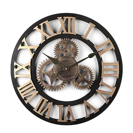Tosbess Horloge Pendule Murale En Style Vintage Silencieuse Creux Rétro Horloge Décoration Diamètre 50 Cm
