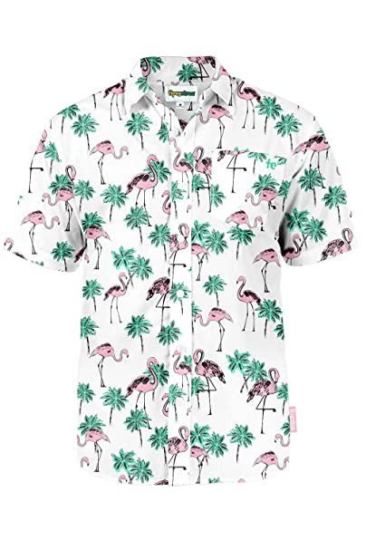 e30a1c7e Amazon.com: Men's Bright Hawaiian Shirt for Summer Aloha Shirt for ...