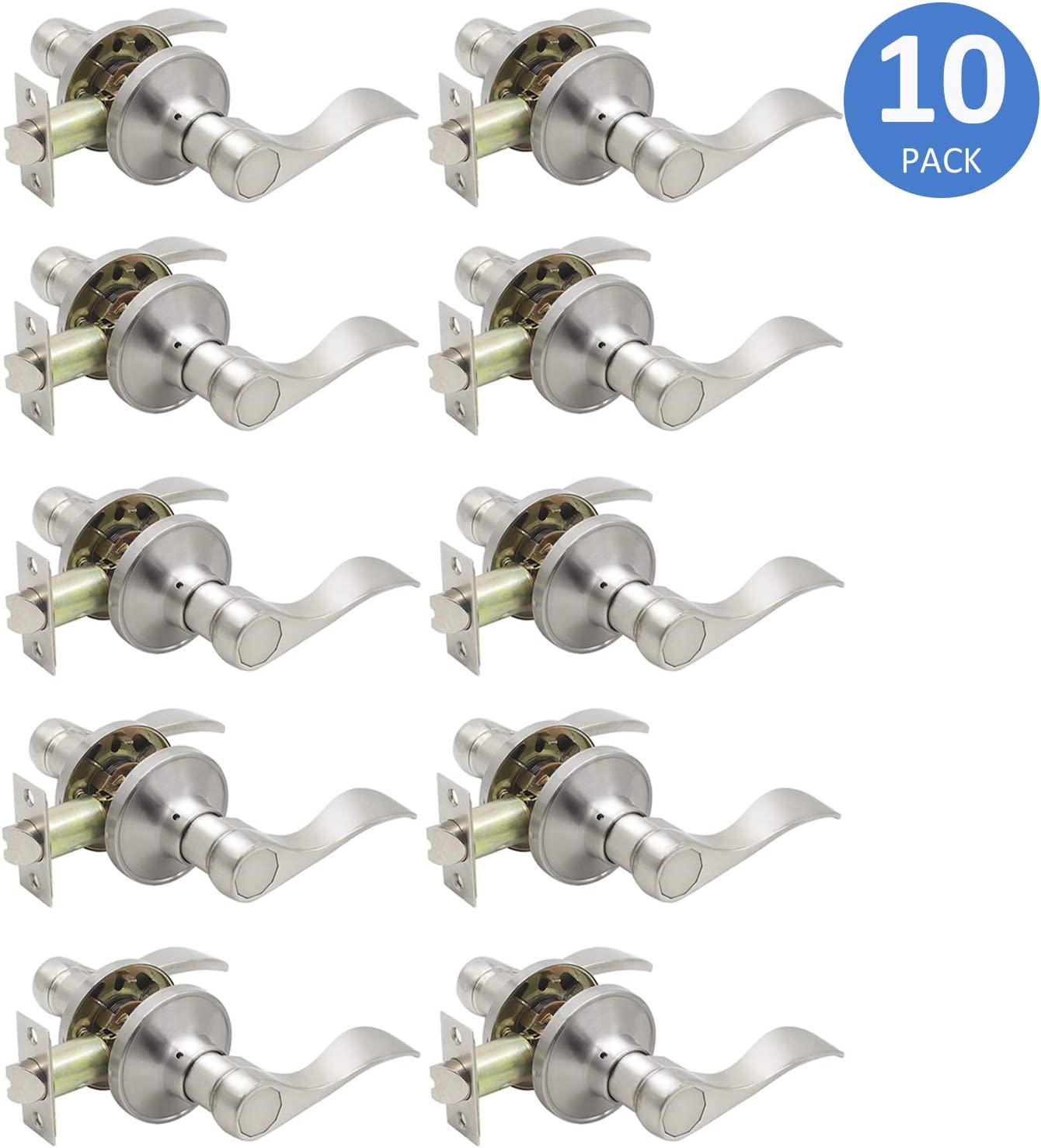 Lot of 10 Satin Nickel Door passage lever handle Locks closet hallway Brushed