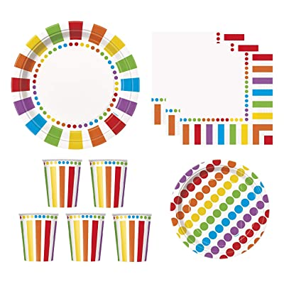 Rainbow Party Supplies Pack for 16 Guests - Including Dinner Plates, Dessert Plates, Cups, and Napkins: Toys & Games